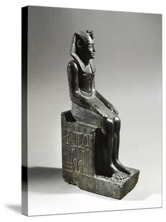 Statue of Pharaoh Neferhotep I. Microgabbro, from El Fayum--Stretched Canvas Print