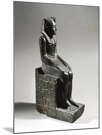 Statue of Pharaoh Neferhotep I. Microgabbro, from El Fayum--Mounted Giclee Print