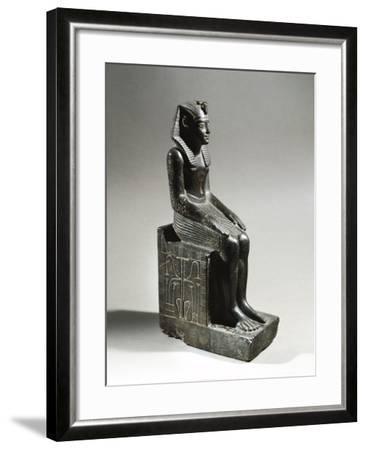 Statue of Pharaoh Neferhotep I. Microgabbro, from El Fayum--Framed Giclee Print