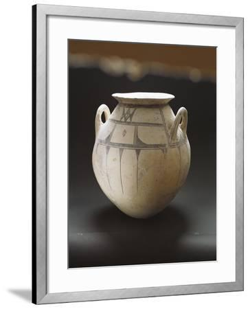 Monochrome Earthenware Pot Decorated with Geometric Patterns--Framed Giclee Print