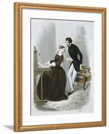 Music Time from Le Magasin Des Familles, 1850, France--Framed Giclee Print
