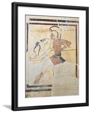Terracotta Plaque with Armed Hoplite Running--Framed Giclee Print
