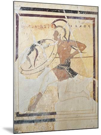 Terracotta Plaque with Armed Hoplite Running--Mounted Giclee Print