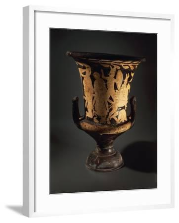 Red-Figure Pottery, Calyx Krater with Fighting Warriors, from Vulcente Workshop--Framed Giclee Print