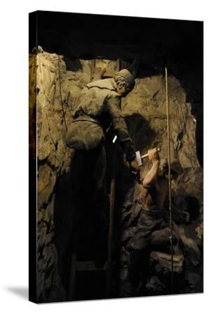Mining, Shaft Sinking by Hand with Hammer and Wedge, Diorama--Stretched Canvas Print