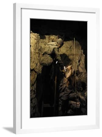 Mining, Shaft Sinking by Hand with Hammer and Wedge, Diorama--Framed Giclee Print