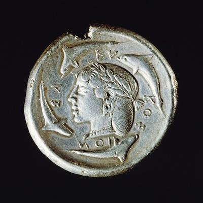 Silver Decadrachm, Recto, Greek Coins, 5th Century BC--Framed Giclee Print