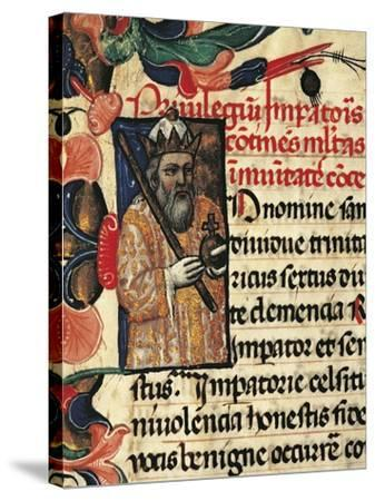 King Henry VI, Miniature from Privileges Bestowed by the King on the City Palermo, Manuscript--Stretched Canvas Print