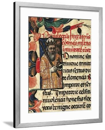 King Henry VI, Miniature from Privileges Bestowed by the King on the City Palermo, Manuscript--Framed Giclee Print