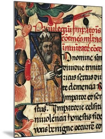 King Henry VI, Miniature from Privileges Bestowed by the King on the City Palermo, Manuscript--Mounted Giclee Print