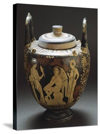 Pyx Representing Eros in Mirror, Red-Figure Pottery from Workshop of Taranto, Apulia, Italy BC--Stretched Canvas Print