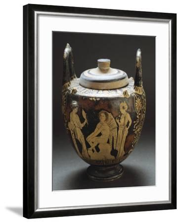 Pyx Representing Eros in Mirror, Red-Figure Pottery from Workshop of Taranto, Apulia, Italy BC--Framed Giclee Print