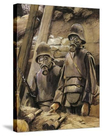 German Soldiers with Gas Masks, August 1917--Stretched Canvas Print