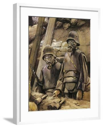 German Soldiers with Gas Masks, August 1917--Framed Giclee Print