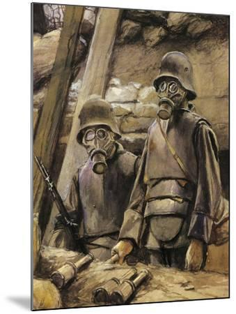 German Soldiers with Gas Masks, August 1917--Mounted Giclee Print