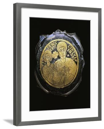 Ceramic Fragment with Gold Decorations Depicting Family, Artifact Uncovered in Dunaszeksco--Framed Giclee Print