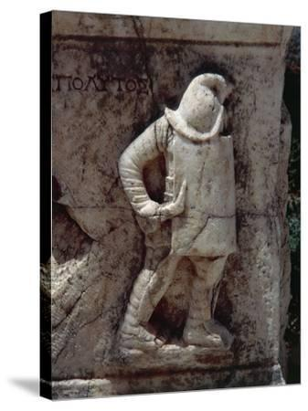 Relief Depicting Gladiator, Along Marble Road--Stretched Canvas Print
