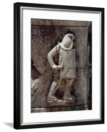 Relief Depicting Gladiator, Along Marble Road--Framed Giclee Print