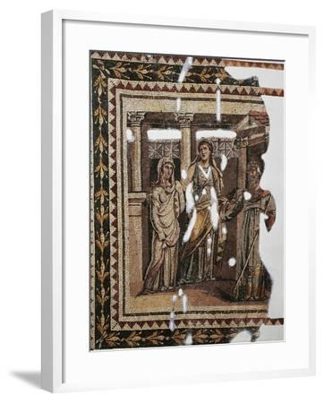 Mosaic Portraying Iphigenia at Aulis, from Antioch, Turkey--Framed Giclee Print