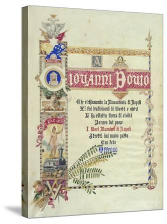 Album Donated by Neapolitan Masonic Lodges to Giovanni Bovio, Cover, Italy--Stretched Canvas Print