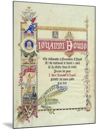 Album Donated by Neapolitan Masonic Lodges to Giovanni Bovio, Cover, Italy--Mounted Giclee Print