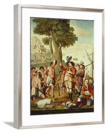 Juan De Grijalva Disembarks in the Province of Tabasco and Is Greeted by a Cacique Indian Chief--Framed Giclee Print
