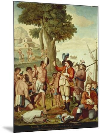 Juan De Grijalva Disembarks in the Province of Tabasco and Is Greeted by a Cacique Indian Chief--Mounted Giclee Print