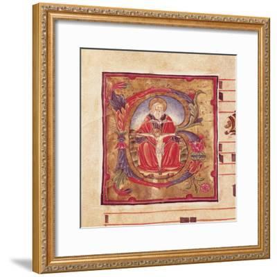 The Holy Trinity, Miniature by Reginaldo Piramo from Choral, Latin Manuscript 16th Century--Framed Giclee Print