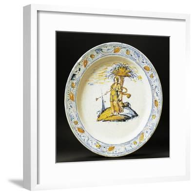 Plate Decorated with Female Figure, Ceramic, Faenza Manufacture, Emilia-Romagna, Italy--Framed Giclee Print