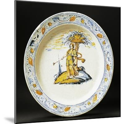 Plate Decorated with Female Figure, Ceramic, Faenza Manufacture, Emilia-Romagna, Italy--Mounted Giclee Print