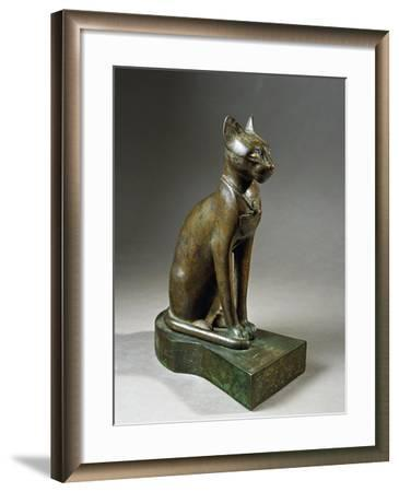 Bronze and Gold Statuette of Goddess Bastet as a Cat, also known as the Psamtik Cat--Framed Giclee Print