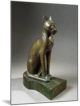 Bronze and Gold Statuette of Goddess Bastet as a Cat, also known as the Psamtik Cat--Mounted Giclee Print
