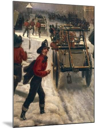 New York Street in 1840 Covered with Snow--Mounted Giclee Print