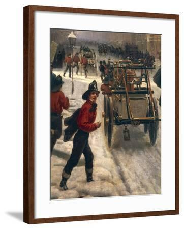 New York Street in 1840 Covered with Snow--Framed Giclee Print