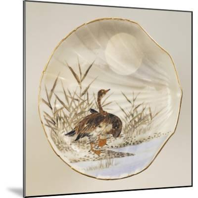 Shell Shaped Plate Decorated with Birds and Landscape, Porcelain--Mounted Giclee Print
