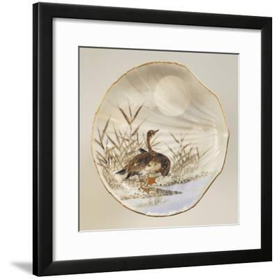 Shell Shaped Plate Decorated with Birds and Landscape, Porcelain--Framed Giclee Print