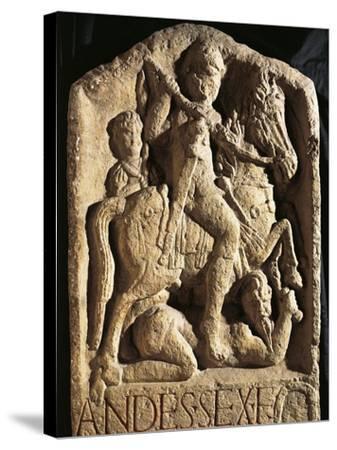 Stele of Andes, Depicting Man on Horseback--Stretched Canvas Print
