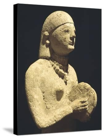 Statue Depicting a Female Tambourine Player, Ca 500 Bc, Cyprus--Stretched Canvas Print