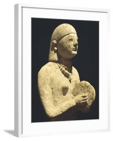 Statue Depicting a Female Tambourine Player, Ca 500 Bc, Cyprus--Framed Giclee Print