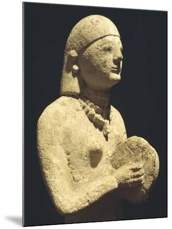 Statue Depicting a Female Tambourine Player, Ca 500 Bc, Cyprus--Mounted Giclee Print