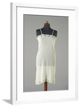 Silk Crepe Underdress with Small Embroidered Colored Flowers, 1920s-1930s--Framed Giclee Print