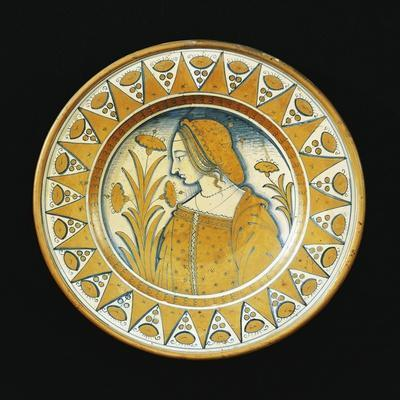 Plate Decorated with Female Figure, Ceramic, Deruta Manufacture, Umbria, Italy--Framed Giclee Print
