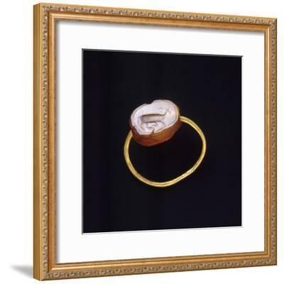 Engraved Agate and Gold Ring. Etruscan Civilization--Framed Giclee Print