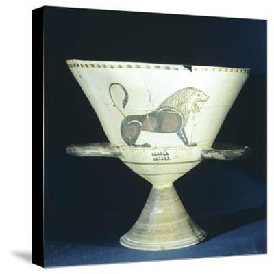 Chalice Showing Figure of Lion, Terracotta from Tomb 221 in Ancient Necropolis in Hagia Paraskevi--Stretched Canvas Print