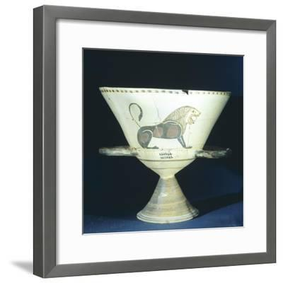Chalice Showing Figure of Lion, Terracotta from Tomb 221 in Ancient Necropolis in Hagia Paraskevi--Framed Giclee Print