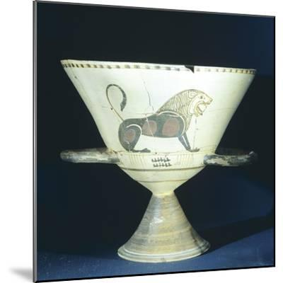 Chalice Showing Figure of Lion, Terracotta from Tomb 221 in Ancient Necropolis in Hagia Paraskevi--Mounted Giclee Print