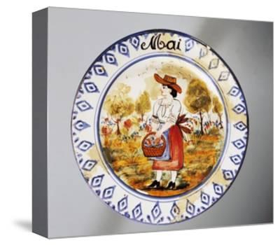 Plate Depicting Months, May, Earthenware--Stretched Canvas Print