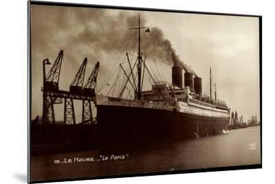 Le Havre, French Line Cgt, Le Paris, Vapeur, Dampfer--Mounted Giclee Print