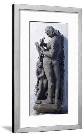 Woman Writing Letter, Fragment of Capital Decorated in Relief, from Khajuraho, India, 10th Century--Framed Giclee Print