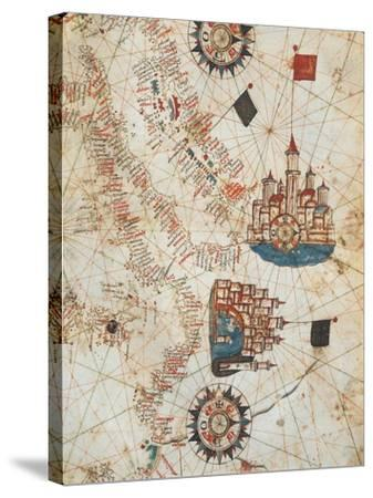 Genoa and Venice, from the Nautical Atlas by Joan Martines, 1571--Stretched Canvas Print